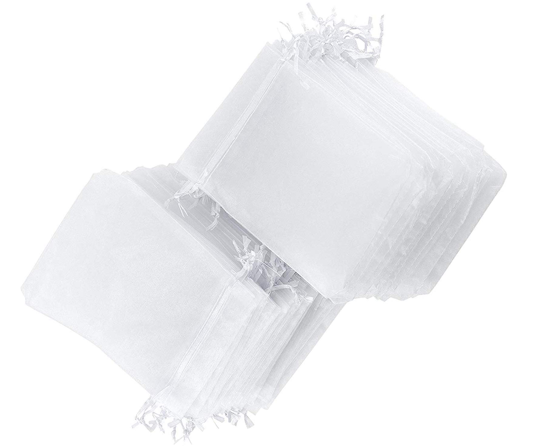 EbuyGo 100PCS 6x9 Inch(16x22cm) Drawstring Organza Jewelry Favor Pouches Wedding Party Festival Gift Bags Candy Bags (White)