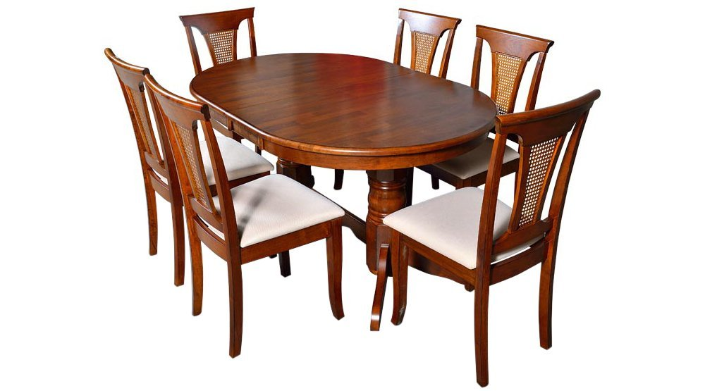 Afydecor Six Seater Dining Set With Oval Shaped Table And Six Lattice Back Chairs Brown Amazon In Home Kitchen