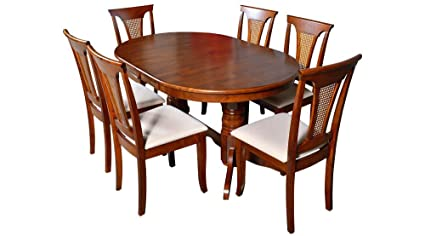 Afydecor Six Seater Dining Set With Oval Shaped Table And Six Lattice Back  Chairs   Brown