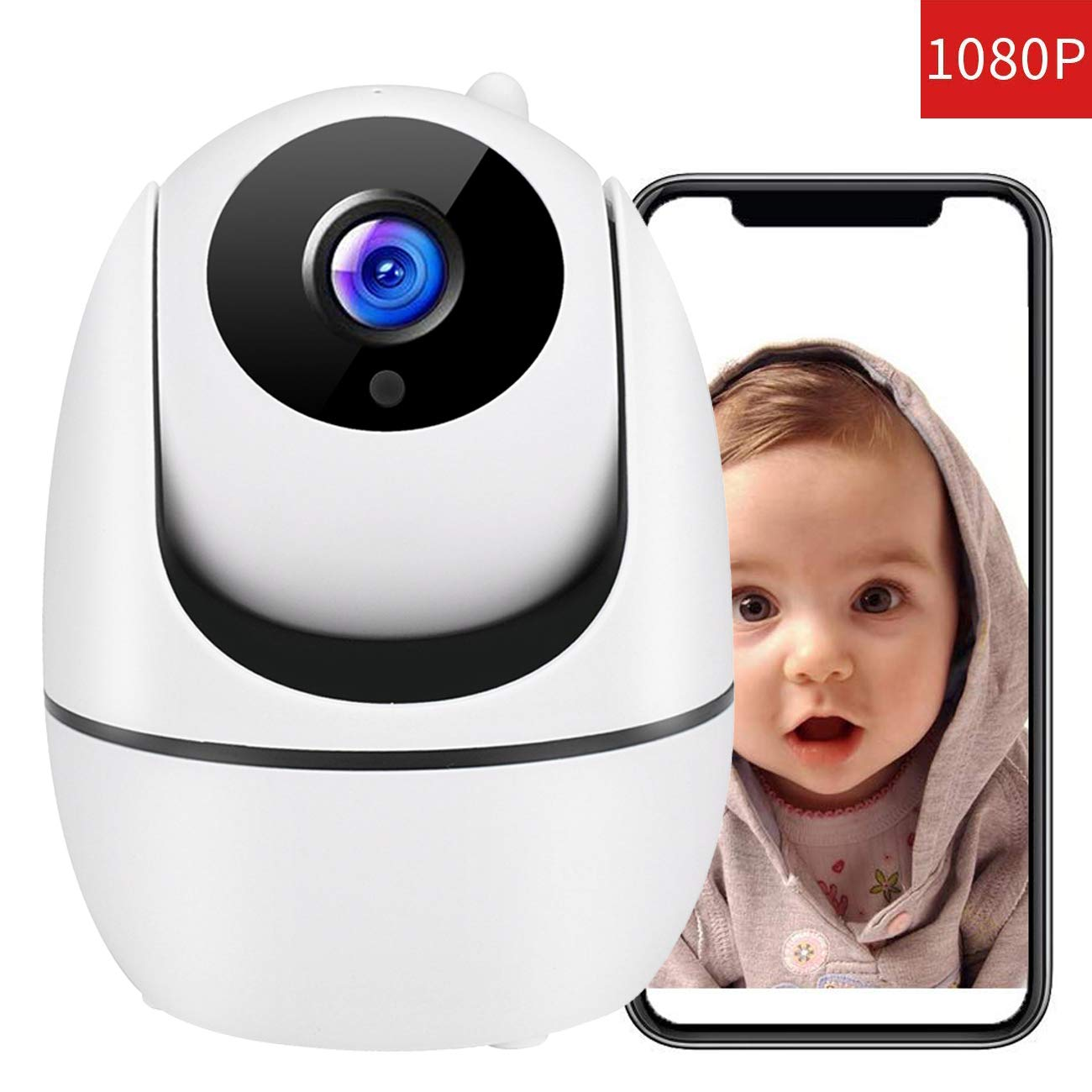 Baby Monitor 1080P FHD Home WiFi Security Camera Sound with Night Vision 2-Way Audio Automatic Person Tracking Available Monitor Baby Elder Pet Compatible with iOS Android White