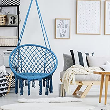Hammock Chair Macrame Swing, 330 Pound Capacity,