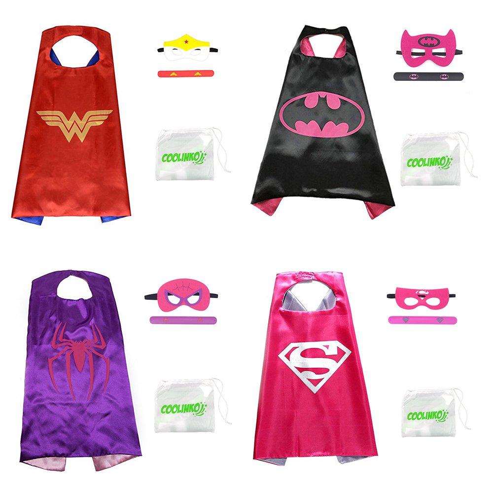 Superhero Cape, Mask and Slap Bracelet - Costume for Kids Birthday Party, Pretend Play, Dress up (Hero Girl Set, 4 Pack)