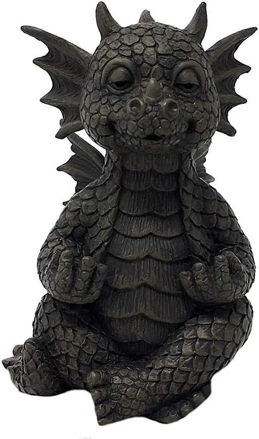MystiCalls - Figura Decorativa para jardín (tamaño pequeño), diseño de dragón meditando Yoga: Amazon.es: Jardín