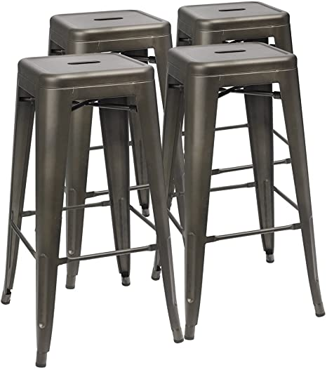 Amazon Com Furmax 30 Inches Metal Bar Stools High Backless Stools Indoor Outdoor Stackable Kitchen Stools Set Of 4 Gun Home Kitchen