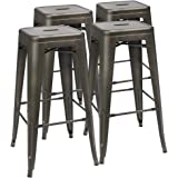 Furmax 30'' High Metal Stools Backless Metal Stool Tolix Bar Stool Indoor-Outdoor Stackable Stools with Square Seat Gun Metal (Set of 4)