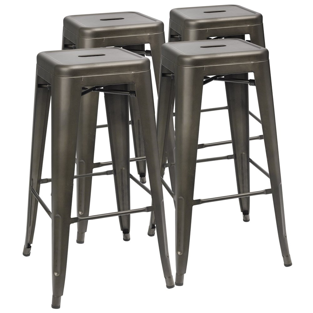 Furmax 30 Inches Metal Bar Stools High Backless Stools Indoor-Outdoor Stackable Kitchen Stools Set of 4 (Gun) by Furmax