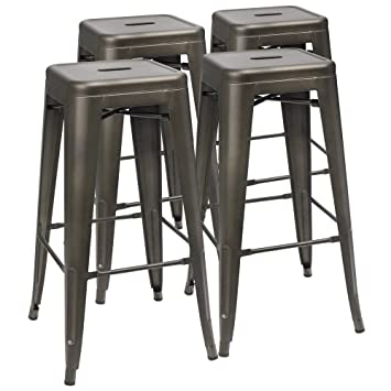 Fabulous Furmax 30 Inches Metal Bar Stools High Backless Stools Indoor Outdoor Stackable Kitchen Stools Set Of 4 Gun Uwap Interior Chair Design Uwaporg