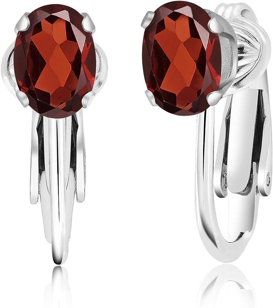 7x5mm Oval Garnet Sterling Silver Stud Earrings 2 Ct