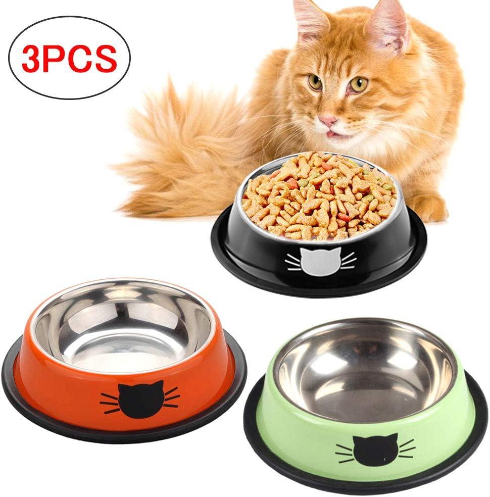 SaponinTree Cuencos para Gatos, 3 Piezas Cuencos Antideslizantes de Acero Inoxidable Comida Cuencos para Gatos, Cuencos Agua Comida Alimentación Platos para Mascotas, Perros, Gatos