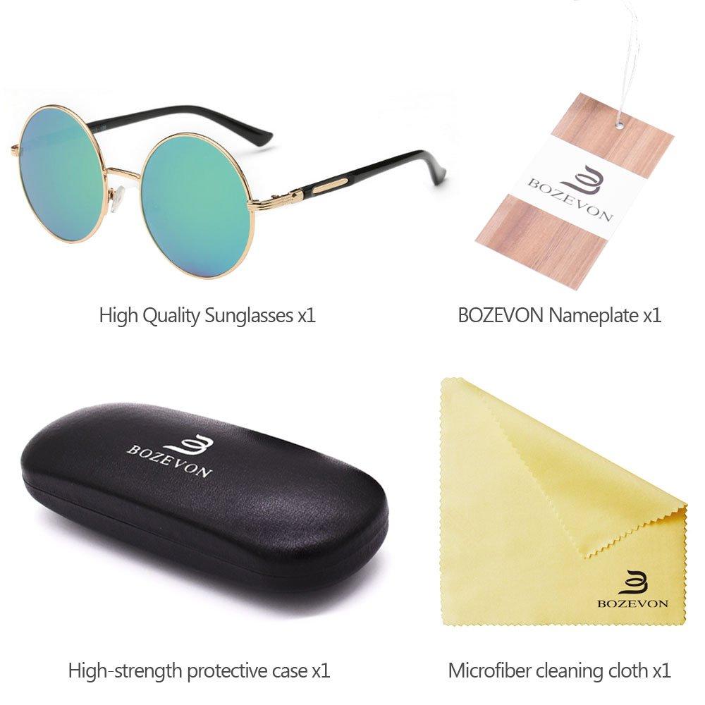BOZEVON Retr/ò Stile Cerchio Obiettivo Rotondi degli Occhiali da sole per le Donna