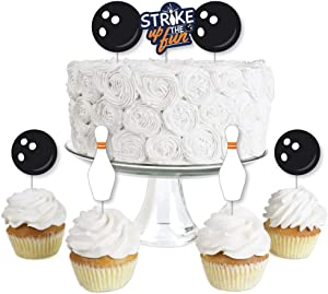 Big Dot of Happiness Strike Up the Fun - Bowling - Dessert Cupcake Toppers - Birthday Party or Baby Shower Clear Treat Picks - Set of 24