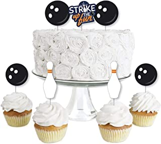 product image for Big Dot of Happiness Strike Up the Fun - Bowling - Dessert Cupcake Toppers - Birthday Party or Baby Shower Clear Treat Picks - Set of 24