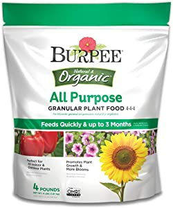 Burpee Natural Organic All Purpose Granular Plant Food 4-4-4, 4 lb