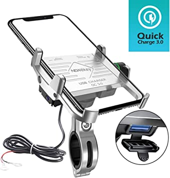 Metal Cell Phone Mount for Motorcycle with USB Charger Galaxy S10 S9 S8 S7 S6 Plus and All 3.5 to 6.5 5V 2.5A Aluminum Motorcycle Handlebar Phone Holder Charger for iPhone X XS//XR MAX 8 Plus