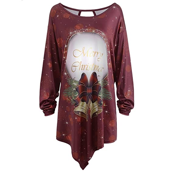 c16d417245f5 Hannea Merry Christmas Bell Print Asymmetrical Plus Size T-Shirt:  Amazon.in: Clothing & Accessories