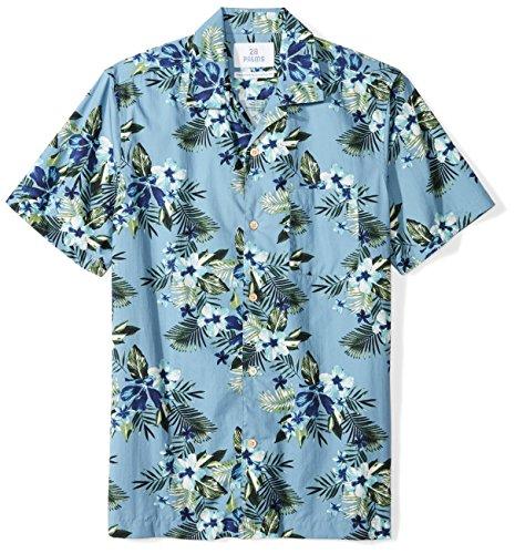 28 Palms Men's Standard-Fit 100% Cotton Tropical Hawaiian Shirt, Light Blue Hibiscus Floral, Small - Iron Big And Tall Shirts