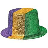 Amscan Glitter Top Mardi Gras Party Plastic, 9'' x 11'' x 4''. Childrens-Costume-Headwear-and-Hats, 6 Pieces
