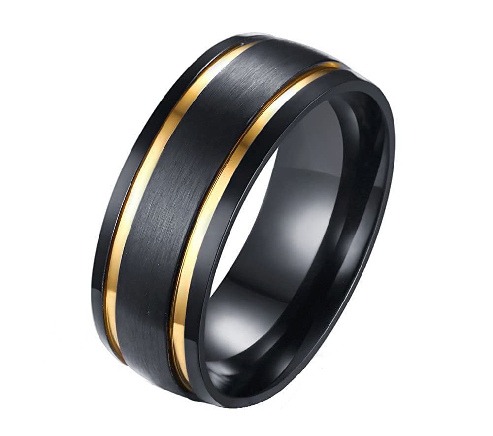 Heyrock Double Gold Lines Ring Mens Black Matte Finished Stainless Steel Wedding Band R208-ITFT