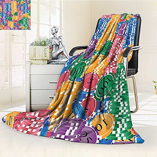 YOYI-HOME Super Soft Duplex Printed Blanket Casino Decorations Stacks of Colored Casino Chips Betting Luck Leisure Repetition Anti-Static,2 Ply Thick,Hypoallergenic/W79 x H59