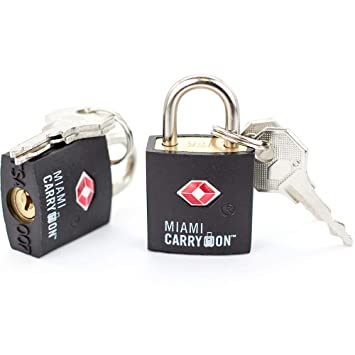 TSA Approved Padlock - Miami Carry On - Best TSA Keyed Luggage Lock, 0.9 Inch