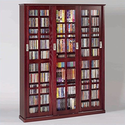 Bookcase Brown Mission Cabinet (LDE LESLIE DAME Leslie Dame MS-1050DC Mission Style Multimedia Storage Cabinet with Sliding Glass Doors, Cherry)