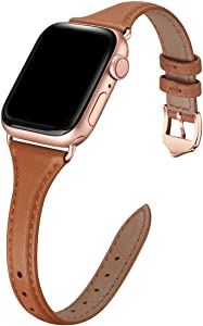 WFEAGL Leather Bands Compatible with Apple Watch 38mm 40mm 42mm 44mm, Top Grain Leather Band Slim & Thin Replacement Wristband for iWatch SE & Series 6/5/4/3/2/1 (Brown/RoseGold, 38mm 40mm )