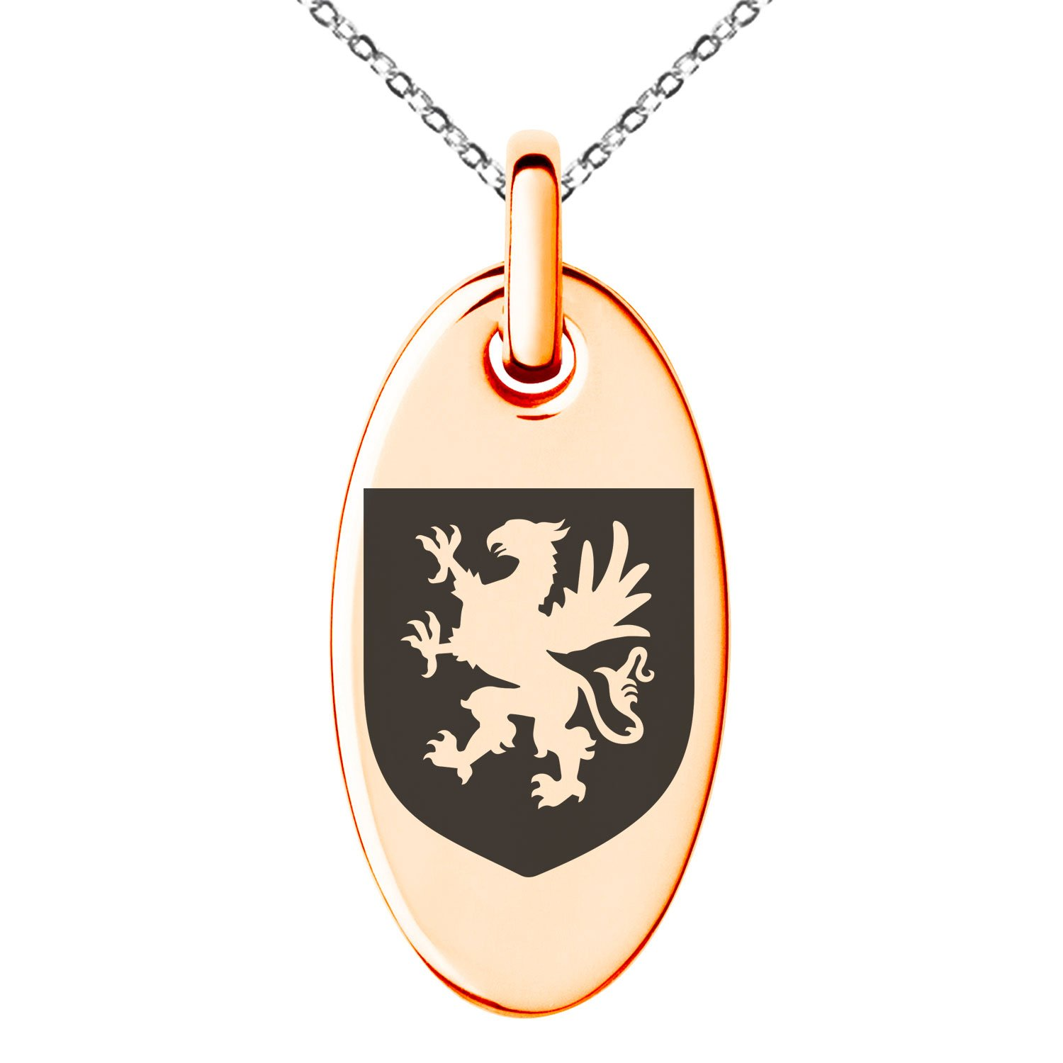 Tioneer Rose Gold Plated Stainless Steel Griffin Valor Coat of Arms Shield Symbol Engraved Small Oval Charm Pendant Necklace