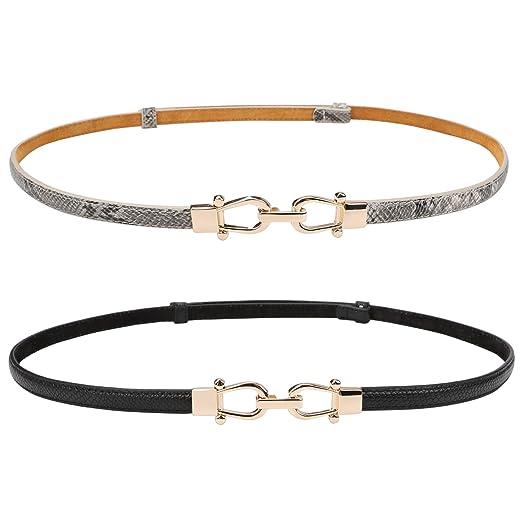 JASGOOD Women Leather Skinny Belt for Dress Adjustable Thin Waist Belt for Lady(Black+Grey,Waist Size Below 37 Inches)