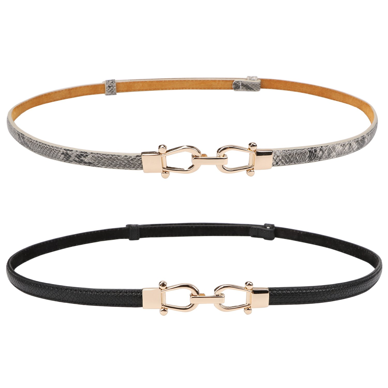 "Thin Belt for Women Genuine Leather Waist Belts for Dresses Skinny Belt Up to 37"" with Adjustable Metal Buckle Gray Black Color Set of 2"