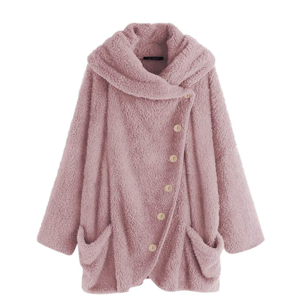 aihihe Womens Plus Size Winter Coats and Jackets Casual Button Faux Fur Warm Oversized Outwear Overcoat with Pockets