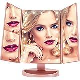 LED Espejo Maquillaje, FASCINATE (Oro rosa) espejo aumento 21 LEDs Carga con USB o Batería, Espejo Maquillaje con Luz para Tríptica Aumentos 3x, 2x,1x Lupa Rotación de 180°