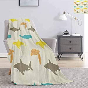 Luoiaax Sea Animals Fluffy Blanket Microfiber Pattern with Whale Shark and Turtle Aquarium Doodle Style Marine Life Fluffy Decorative Blanket for Couch W70 x L70 Inch Ivory Taupe Peach