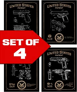 Popular Handgun Patents Decor Set of Four 8x10 Gun Themed Decorative Prints, Glock, Sig Sauer, Colt, Smith & Wesson, great for bachelor pad, office, living room.