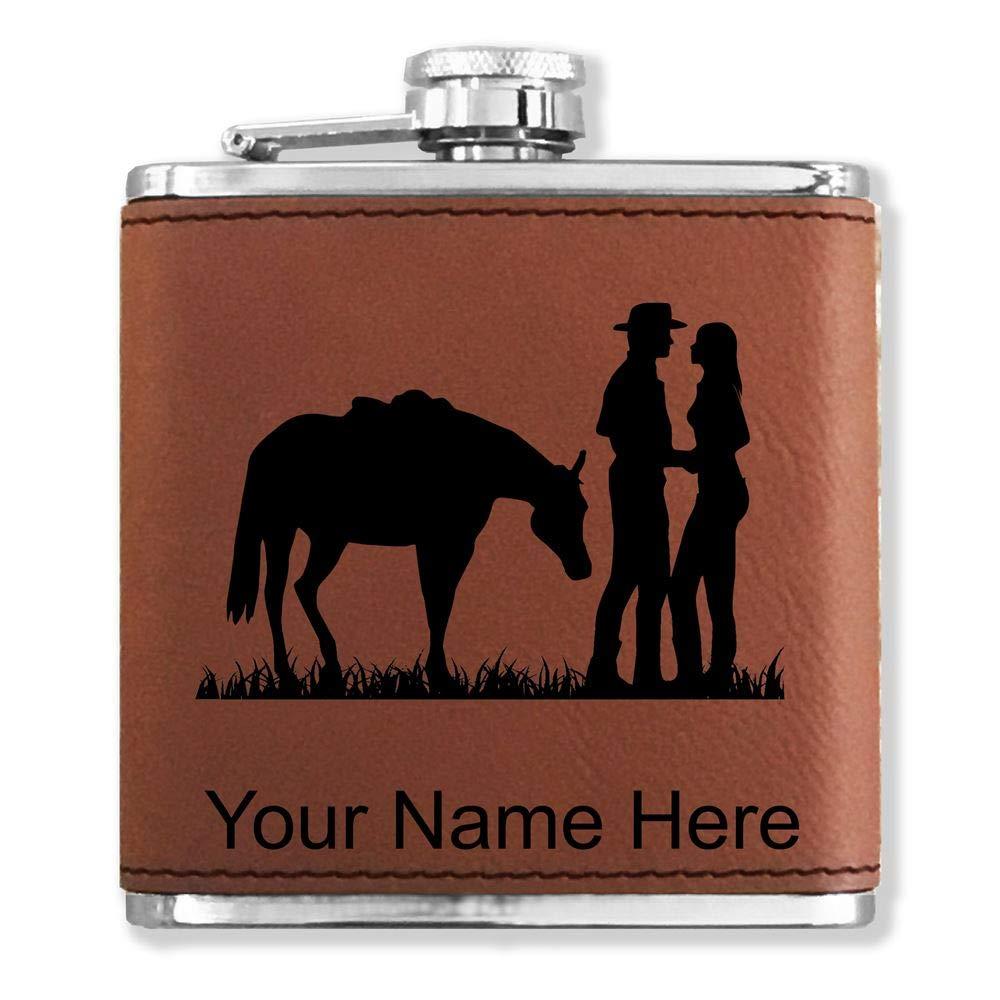 卸売 フェイクレザーフラスコ – Romantic Country Western Western – Country カスタマイズ彫刻Included – (ダークブラウン) B01LZ8KFWT, ニシカワ質店:1e23fb94 --- riyazinterior.in