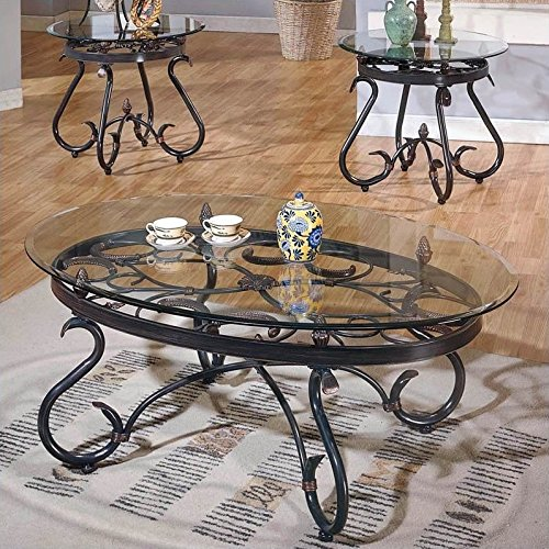 Steve Silver Company Lola 3 Piece Coffee Table Set in Dark Brown For Sale