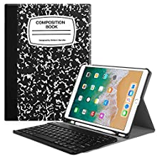 "Fintie Keyboard Case with Built-in Apple Pencil Holder for iPad Air 2019 3rd Gen/iPad Pro 10.5"" 2017- SlimShell Stand Cover w/Magnetically Detachable Wireless Bluetooth Keyboard, Composition Book"