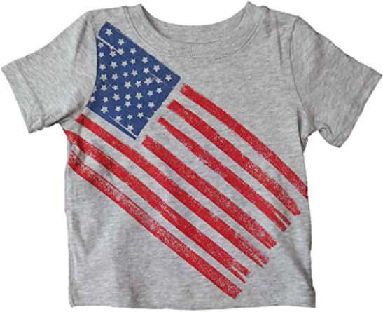 Kids T-Shirt Tops American Flag Unisex Youths Short Sleeve T-Shirt
