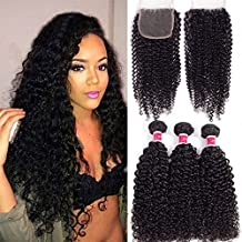 """Wigirl Hair Brazilian Curly Virgin Human Hair With Free Part Lace Closure Unprocessed Virgin Hair With 4""""x 4"""" Lace Closure Natural Color (10 12 14 with 10 lace closure)"""