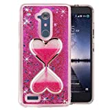 ZTE ZMAX Pro Case, QKKE [Wine Glass Diamond Series] 3D Glitter Bling Hearts Flowing Liquid Star Clear Hard Case for ZTE ZMAX Pro/Carry Z981/N9560/Z986 (Hourglass/Hot Pink))