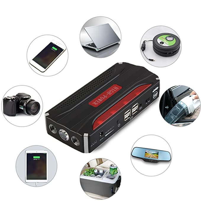 liobaba 68800 mAh 600 A arrancador de batería de coche, portátil Batería de Emergencia Coche Batería de arranque con seguridad martillo, Booster Pack con 4 ...
