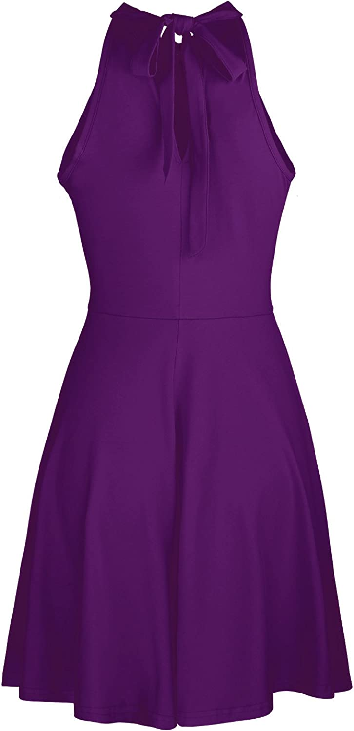 OUGES Womens Halter Neck Sleeveless Casual Cotton Flare Dress