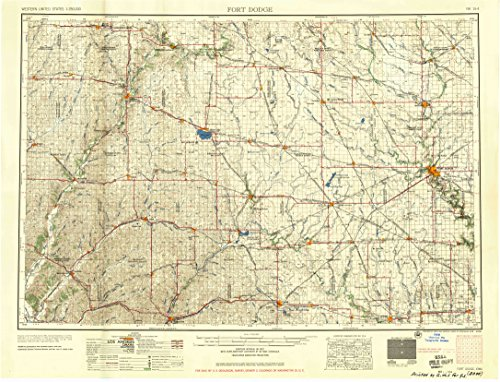 YellowMaps Fort Dodge IA topo map, 1:250000 Scale, 1 X 2 Degree, Historical, 1958, 22.2 x 29.2 in - ()