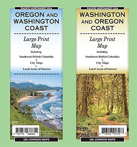 (Washington & Oregon Coast Large Print, Oregon & Washington State Map)
