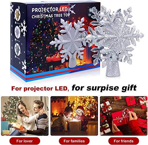 lluminazione di Natale 3D Hollow Stella di Natale Puntale dell'albero di Natale Fiocco di Neve luci del proiettore a LED per Natale Decorazione dell'albero di Natale Home Decor Partito (Argento) 2 spesavip