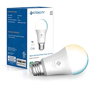 Etekcity Smart Light Bulb, WiFi Dimmable Tunable LED Bulbs, Work with Alexa, Google Home and IFTTT, Easy Setup, Schedule, A19 E26, 60W Equivalent, 806LM, 2700K-6500K, No Hub Required, UL Listed