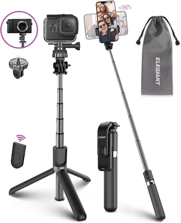 Palo Selfie Trípode, ELEGIANT Selfie Stick 4 en 1 con Control Remoto Bluetooth Aluminio para Cámara Gopro para Viaje Rotación de 360° Compatible con iPhone Samsung Xiaomi Huawei (4-6.8 Pulgadas)