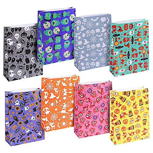 Unomor Halloween Treat Bags for Kids Classroom Trick or Treat Bags with 8 Assorted Designs - 40 Pack