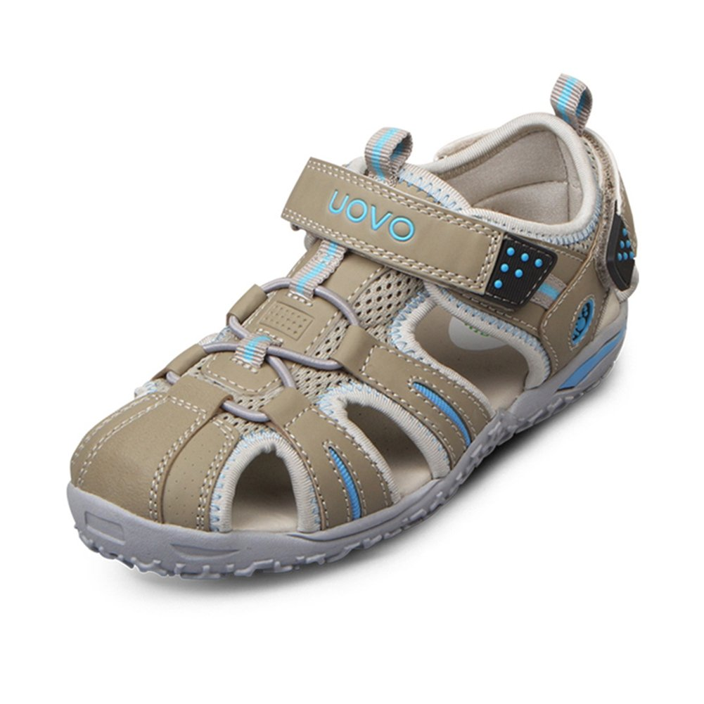 U-MAC Gilrs Boys Sandals Quick-Dry Closed Toe Bungee Strap Anti-Collision Outdoor Athletic Shoes for (Little Kid/Big Kid) Grey