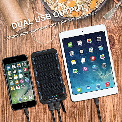X-DNENG Solar Charger, 15000mAh Solar Power Bank,2.4A Output 2-Port External Battery Charger Cellphone Charger with Powerful LED Lights Waterproof for iPhone,Samsung,Tablets and More USB Devices by X-DNENG (Image #2)