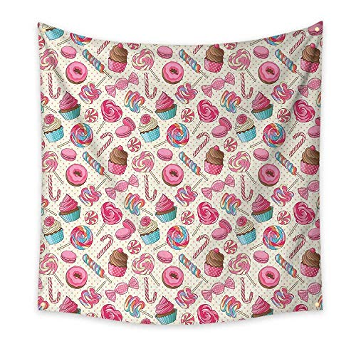 Candy Cane Simple Tapestry Yummy Sweet Lollipop Candy Macaroon Cupcake and Donut on Polka Dots Pattern Unique Tapestry Multicolor 63W x 63L Inch